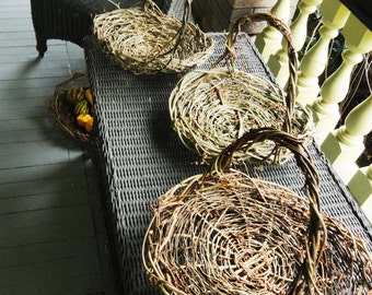 Set of 4 Wedding Table Baskets, Wild Natural Wicker Baskets, Eco Friendly Grapevine, Autumn Fall Arrangement Baskets, GTB
