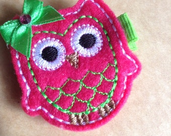 Boutique Embroidered Felt Green and Pink Owl Hair Clip