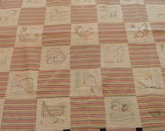 New. Ruby Short McKim. Farm Life. Quilt. Hand Embroidery. Heavy Hand Quilting. 59x76""