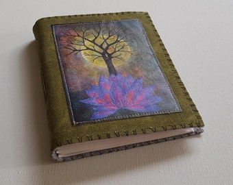 base of change journal - tree moon purple lotus green waxed canvas cover mid size journal