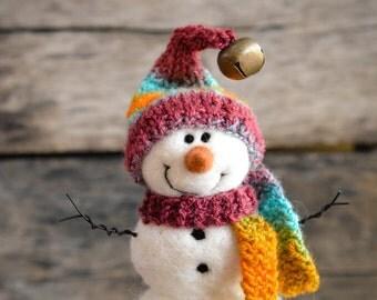 Needle Felt Snowman - Needle Felted Snowman - Christmas Snowman - Christmas Decoration - Christmas Decor -  Wool Snowman - Winter Décor -786