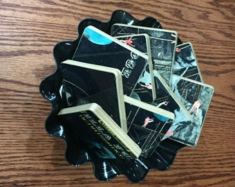 VANILLA FUDGE recycled Renassiance album cover coasters with record bowl