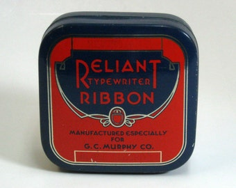 Vintage Square Reliant Typewriter Ribbon Tin Vivid Orange, Blue and Gold