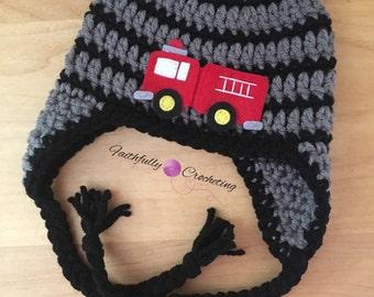 Newborn boy hat.. Earflap beanie... Fire truck hat... Photography prop... Ready to ship