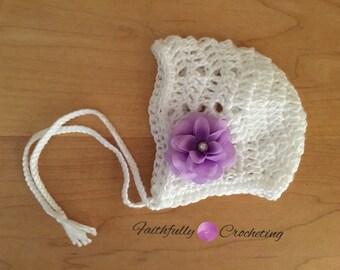 Newborn bonnet.. White bonnet.. Chevron bonnet.. Photography prop... Ready to ship