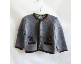 Vintage 50s Girls Sweater Gray Lederhosen Austria Folk Heidi Frozen Anna NWT