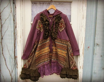 XL Bohemian Gypsy Hoodie Sweater Coat//Purple Sage Fair Isle // Upcycled Festival Clothing// Reconstructed// emmevielle