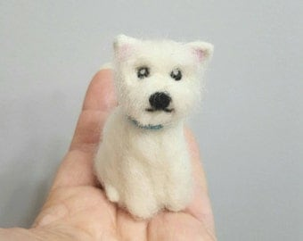 Westie dog ornament, Westhighland white terrier, Custom dog ornament, Westie art, Custom dog portrait, Needle felted dog, Dog lover gift,