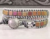 Metallic Leather Wrap Bracelet Gray Wrap Bracelet Bohemian Jewelry Tila Bead Boho Bracelet Yellow Orange Pink Wrap Bracelet Autumn Jewelry