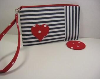 Wristlet, Cosmetic Bag, Bridesmaid Gift, Pocket Mirror