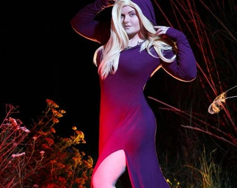 Sorcerer Knit Dress-Witch Costume Cosplay - Dark Priestess - Hooded Purple- Petite to PlusSize Custom to Order XS-5XL