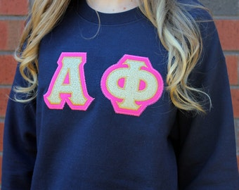 Sorority Greek applique sweatshirt, Glitter Applique, Sorority Glitter Sweatshirt, Greek Letter Glitter Sweater, Sorority Sweatshirt,