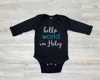 Hello World Onesie, Long Sleeve, Take Home Outfit, Baby Take Home Outfit, Baby Jumper, Baby Jumpsuit
