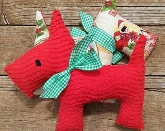 Plush Upcycled  Christmas Scotty Dog Ben