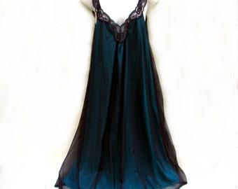 Vintage Olga nightgown stunning green and black chiffon lace neckline XL style 92020