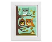 155 Owl Wall Art - Owl Parents with Baby Girl Wall Art - Owl Poster - Woodland Nursery Decor - Owl Print - Owl Art Print - Baby Girl Nursery