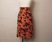 Vintage 1980's Saint Laurent Rive Gauche Tribal Skirt Small