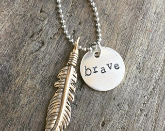 New Hand Stamped BRAVE Necklace with a Feather Charm