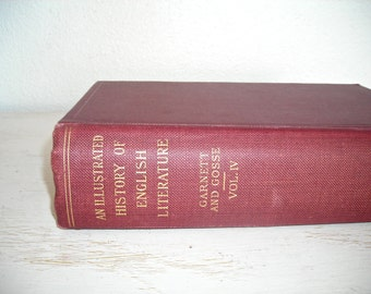 An Illustrated History of English Literature 1906 by Edmund Gosse - from the age of Johnson to Tennyson - large red coffee table book