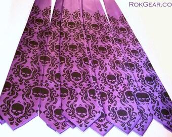 RokGear Neckties - 3 Skull Neckties - Wedding Set - Three Skull Damask Mens neckties print to order in colors of your choice