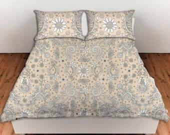 Duvet Cover Floral Bedroom Set beige duvet, neutral duvet, rustic cottage home decor, shabby chic duvet, folk duvet, boho decor, hippy duvet