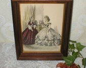 Antique Victorian French Fashion Lithograph Print Ladies Picture Walnut Frame Hand Tinted Vintage