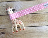 Baby Toy Leash - Pink Polka Dots - Baby Girl - Sophie Leash - Toy Tether