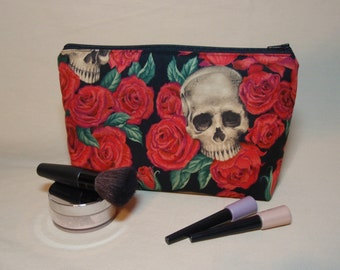 Skulls and Red Roses - Large Padded Cotton Cosmetic Bag Zipper Pouch Inside Pocket