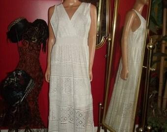 Vintage White Lace  Dress Flapper  does 20-30s Theme Tea Party  Size L