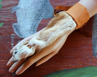 Single coyote paw legskin and deerskin handflower bracelet belly dance tribal fusion costume