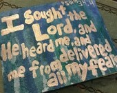 Hand painted psalm 34:4 notecard