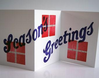 Letterpress Folding Greetings Card - Season's Greetings