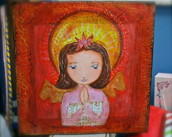 Angel Praying - Original Mixed Media Painting on Wood by FLOR LARIOS (12x 12 Inches)