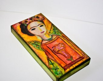 Frida Angel -  Giclee print mounted on Wood (5 x 10 inches) Folk Art  by FLOR LARIOS