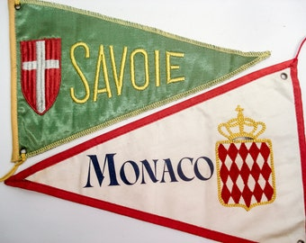 FOUND IN SPAIN -- Pennants from Monaco and France