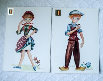 FOUND IN SPAIN -- 2 vintage postcards -- European traditional dress - Belgium