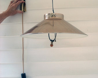 Vintage wall mounted pendant light - fabric cord - swivel mount - pull chain - weighted
