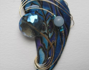 Signed Stephen Dalton Modernist Abstract Blue Feather Pin Pendant Faceted Crystal by Half Baked Ideas