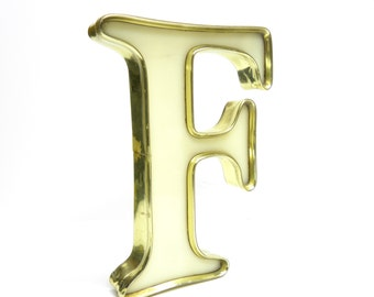 F is for FANTASTIC . gold rimmed cream marquee letter . vintage sign letter . rare color combo in a neat industrial style