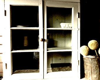 Late 1800s Farmhouse Kitchen Cupboard Bubble Glass Doors Barn Wood Square Wood Pegs Forged Iron Nails