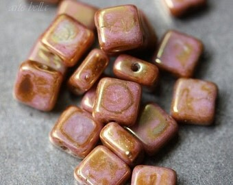 10% off ROSIE .. 20 Premium Picasso Czech Glass Square Beads 6x6mm (3200-20)