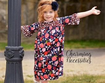 SALE Toddler Girl Clothes, Girls Fall Dress, Curved Yoke Dress LONG or SHORT sleeves, Midnight Garden by Charming Necessities Back to School