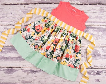 Toddler Girls Dresses, Toddler Girl Clothes, Girls Dresses, Spring Summer Party Dress, Knit Tank Dress Wildflower Meadow