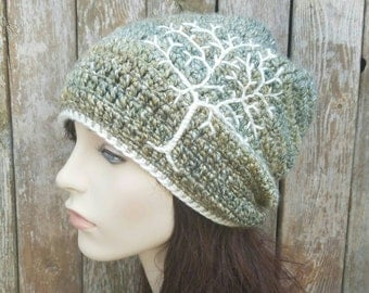 Slouchy Hat with Tree of Life, Tree Hat, Slouchy Beanie Dread Hat Slouch Hat Green, Blue, Yellow, Cream, Womens Hat, Mens Hat, MADE TO ORDER
