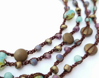 Long Necklace 7X Wrap Bracelet Beaded Necklace Crochet  Necklace Glass Stone Bead Necklace Turquoise Purple Brown Bronze - MADE TO ORDER