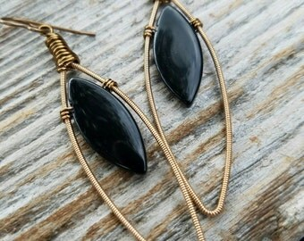 Black Teardrop Earrings Recycled Guitar String Earrings Brass Earrings Black Glass Earrings Black Drop Earrings Upcycled - MADE TO ORDER