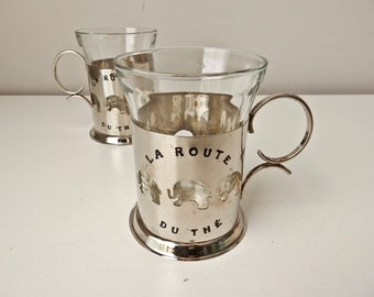 2 French Coffee Cups, Glass & Silverplate Coffee Tea Cups, Elephant Mugs