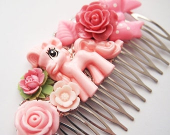 ON SALE Pretty Pink Pony Floral Hair Comb -  Kitsch Cute Bright Chunky Chic Fun OOAK Mlp