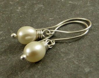 Freshwater Pearl Earrings Off White Pearls Budget Friendly Jewelry Stocking Stuffer  Eco Friendly Gifts for Her