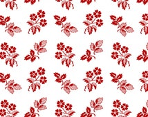 CLEARANCE! White Red Daisy 8363-08 Yardage Redwork Revival Color Principle Henry Glass Red White Vintage Style Antique, Embroidery Red Work
